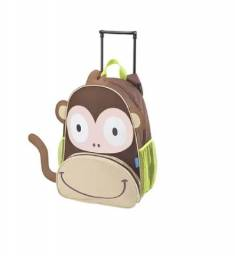Mochila escolar infantil com rodinhas Caco animal macaco zoo