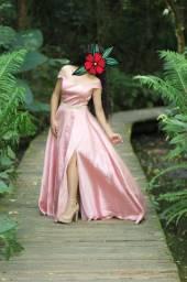Vestido de festa  rosa Gold