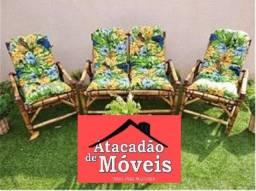 Título do anúncio: Jogo de Bambu com almofadas 3 peças