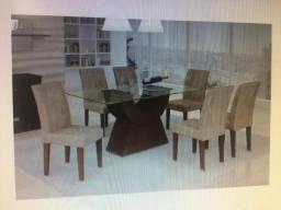 Sala Rufato Malta Seis Cadeiras com tampo de vidro