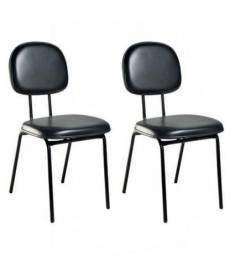 Cadeira secretária fixa pé palito/laminada couro ecológico preto/Fácil higienização
