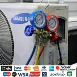 Reposição de gás em ar condicionado split e acj