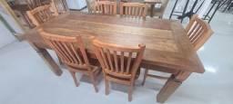 Mesa Rústica com 6 cadeiras madeira maciça em ate 12x sem juros!!!
