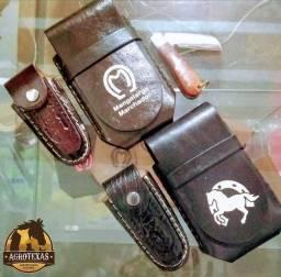 Canivete, porta celular de couro