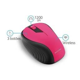 Mouse Multilaser Sem Fio 2.4ghz Preto E Rosa Mo214