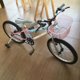 Bicicleta Infantil Para Menina com Rodinhas e Cestinha