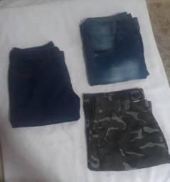 2 calças jeans e 1 short de soldado , os 3 faço 100