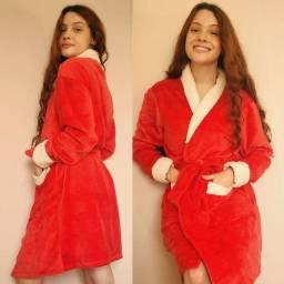 Roupão em Tecido Fleece Vermelho com detalhes off white