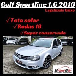 Golf Sportline 1.6 manual/ Teto Solar/ Legalizado baixo/ Impecável - para exigentes!