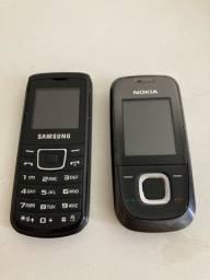 Aparelhos celulares antigos barra Nokia 2680 Samsung E1100