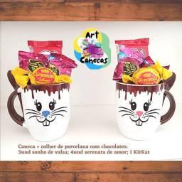 Artcanecas_oficial/ Porcelanas: Caneca + colher - kit páscoa, ideal para presente