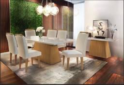Mesa de Jantar Luna Rufato 6 Cadeiras, com tampo em MDF + Vidro - Entrega Imediata!