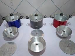 Cuscuzeira de alumínio com tampa de vidro