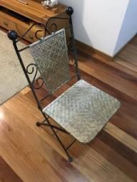 Cadeira ferro e palha