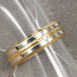 a54f5c9f875b6 10 Aliança em aço banho prata Esterlina com detalhe em dourado. Realengo