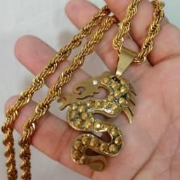 Cordão Corda em aço inox banhado a ouro