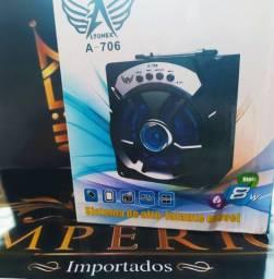 Caixa de som Top via Bluetooth, cartão, pendrive