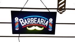 Placa luminosa led Barbearia