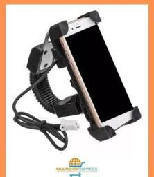 Suporte com Carregador USB de Celular e GPS para Moto