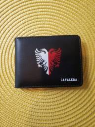 CARTEIRA CAVALERA MASCULINA PRETA COURO NOVA