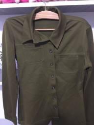 Blusa de manga longa M verde militar