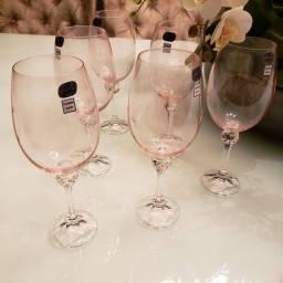 Taças em cristal para vinho,  cor rosê