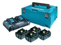 4 Baterias 18v 5ah Makita + Carregador Duplo Dc18rd 110v + Maleta de brinde