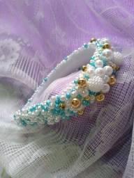Tiara de pérolas luxo Maria