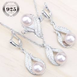 Conjunto de joias em prata esterlina 925 com pérolas naturais