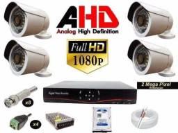 Imperdivel Kit Dvr HD 4 Canais 4 Cameras de segurança Full HD 2 Mp com infra
