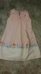 Vestido Infantil Festa Rosa Trapézio