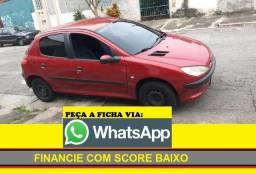 Peugeot 206 Completo Financiamento com score baixo entrada 2000 a 4000