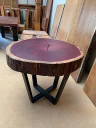 Mesa redonda Rústica madeira Roxinho