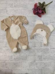 Macacão Solft bebê com Touca urso