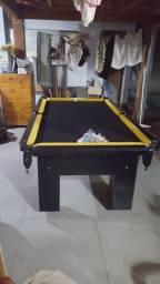 Mesa de Bilhar Preta Tx Tecido Preto Bordas Amarelas Modelo QPE4952