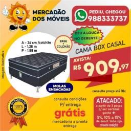 Cama Box Casal Molas Ensacadas (Base+Colchão) Em Promoção