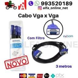 Cabo Vga Vga Simples Para Monitor Tv Projetor Computador Pc, 3 Metros c Filtro Exbom