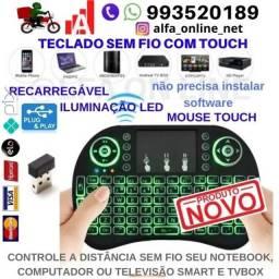 Teclado sem fio Com iluminação Mouse touch Controle o Pc, Notebook,Smart tv e Tvbox