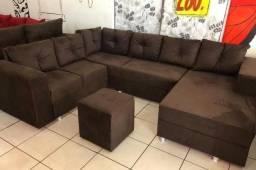 sofá de canto + chaise longue com 6 almofadas e puff (frete gratuito)
