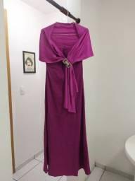 Vestido longo em tafetá pink com detalhe removível