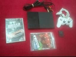 Playstation 2 + jogo + controle