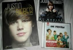 Livro e Cd Justin Bieber e Cd One Direction