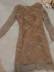 Vestido em renda Nude