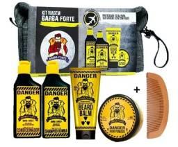 Barba Forte Kit Viagem Danger Mini 4 Produtos+ Brinde!!!