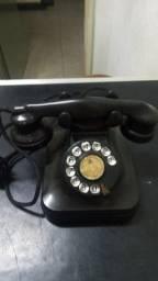 Telefone Antigo De Mesa - Preto  - Anos 50 - Raro - Funcionando
