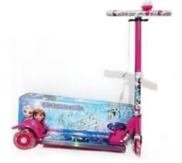 Patinete Frozen 3 Rodas com luzes e Led Laterais Disney Scooter