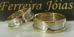 Título do anúncio: Alianças de ouro 18k BVLGARI ouro branco e amarelo com diamantes naturais