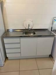 Armário de cozinha + Pia de Aço Inox 120cm