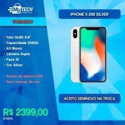 Título do anúncio: iPhone X 256Gb Silver (Seminovo / Bateria 84%)