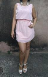 Vestido Chiffon Rosê Curto